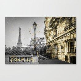 Parisian Charm | golden Canvas Print