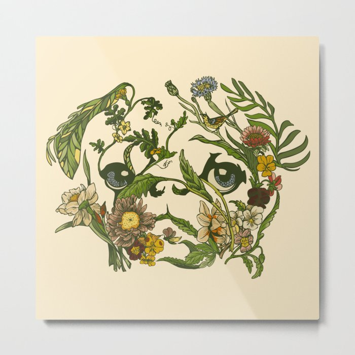 Botanical Pug Metal Print