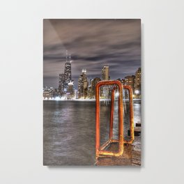 A Long Exposure of Chicago Skyline Metal Print