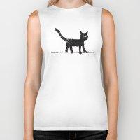 black cat Biker Tanks featuring Black Cat by Brontosaurus