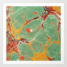 Marbled Green Orange 2A Art Print