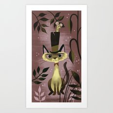 Mouse On A Hat And A Siamese Cat Art Print