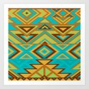 Native Aztec Turquoise Tribal Rug Pattern by createdprototype