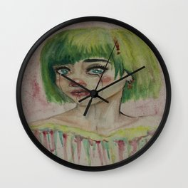 Green clown  Wall Clock