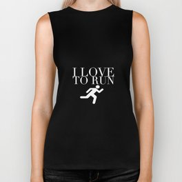 I Love to Run with Running Stick Figure in White Biker Tank