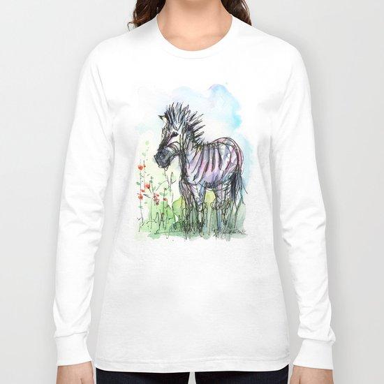 Zebra Whimsical Animal Art Long Sleeve T-shirt