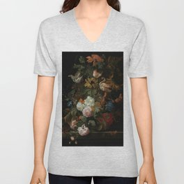 "Ernest Stuven ""Still life of flowers in a glass vase with a butterfly on a ledge"" Unisex V-Neck"