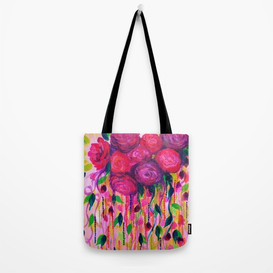 ROSES ARE RAD 2- Bold Pink Red Roses Floral Bouquet Vines, Flower Abstract Acrylic Painting Fine Art Tote Bag