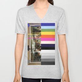 Garage Sale Painting of Peasants with Color Bars Unisex V-Neck