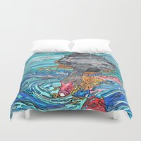 black swan Duvet Covers featuring Black Swan by Juliana Kroscen