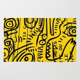 Yellow Street Art Graffiti Train Ticket Rug