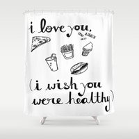 health Shower Curtains featuring Health Problems by Handwritten