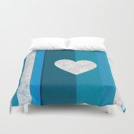 Decorative Texture Blue Teal Heart Design Duvet Cover