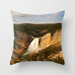 Majestic Yellowstone Upper Falls Throw Pillow