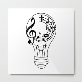 Music Lightbulb Inspiration Metal Print