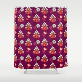 Lovely magical gingerbread houses, colorful sweet candy lollipops. Retro vintage Christmas pattern Shower Curtain