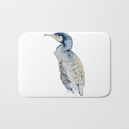Watercolor Cormorant Painting Bath Mat