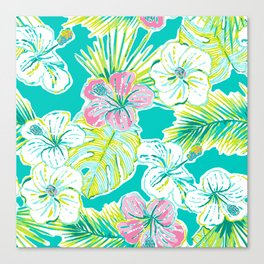 Whimsical Preppy Blue and Pink Floral Pattern Canvas Print