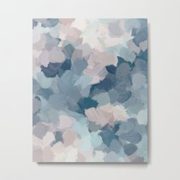 Mint Aqua Navy Indigo Blue Blush Pink Abstract Painting, Modern Wall Art Paint Strokes Random Metal Print