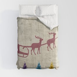 Santa's Sleigh and Colorful Trees Comforters