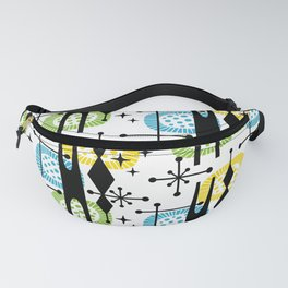 Retro Atomic Mid Century Pattern Yellow Green and Turquoise Fanny Pack