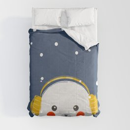 Christmas Baby Seal with fairy lights Comforters