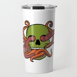 Unique Death Metal Tee With Illustration Of A Skull And Octopus T-shirt Design Sub Genre Trash Black Travel Mug