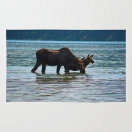 Mother moose and calf in Jasper National Park Rug