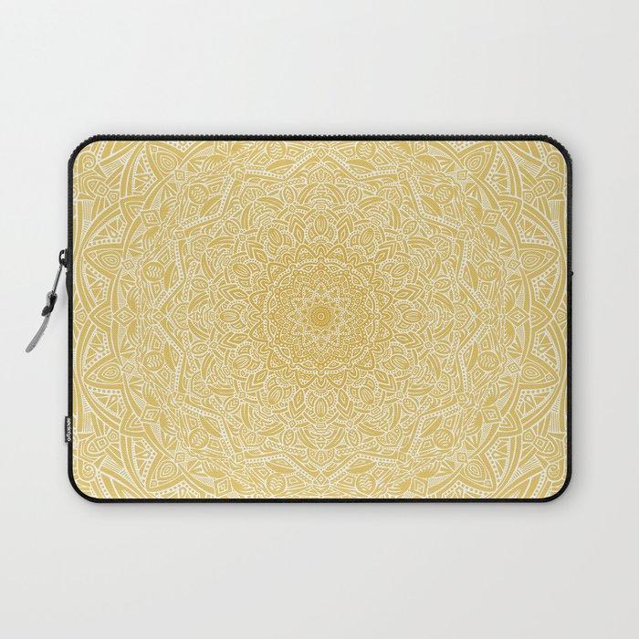 Most Detailed Mandala! Yellow Golden Color Intricate Detail Ethnic Mandalas Zentangle Maze Pattern Laptop Sleeve