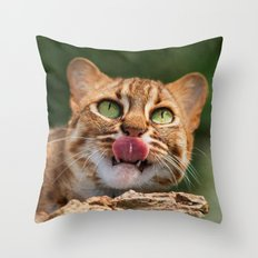 RUSTY SPOTTED CAT LICK Throw Pillow