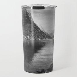 Milford Sound Panorama in black and white Travel Mug