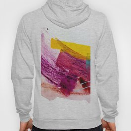 Pink Lemonade [2]: a minimal, colorful abstract mixed media with bold strokes of pinks, and yellow Hoody