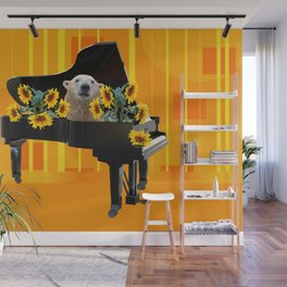 Piano with sunflowers and Icebear Wall Mural