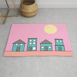 Pink Sky - Row of Houses Rug