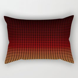 Black Red and Gold Sunset Houndstooth Check Pattern Rectangular Pillow