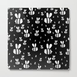 Black and white beautiful print with flying honeybee Metal Print