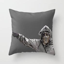 Protection Suit And Gas Mask Throw Pillow