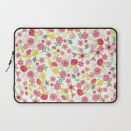 Rustic pink red yellow botanical roses flowers floral pattern Laptop Sleeve