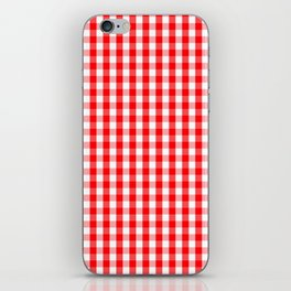 Large Christmas Red and White Gingham Check Plaid iPhone Skin