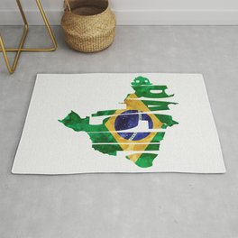 Brasil Typographic World Map / Brasil Typography Flag Map Art Rug
