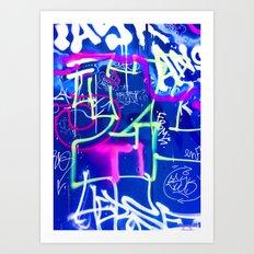 Blue Mood with Pink Language Art Print