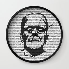 Words of Frankenstein Wall Clock