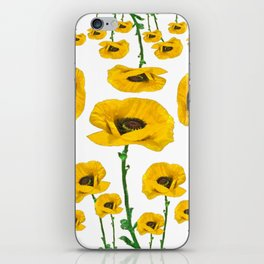 YELLOW POPPIES FLOWER ON WHITE iPhone Skin