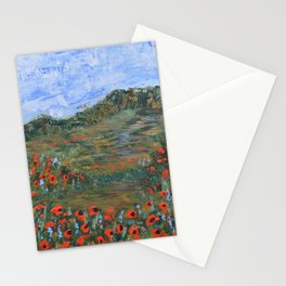 Realm of Poppies, abstract landscape painting, red poppies Stationery Cards