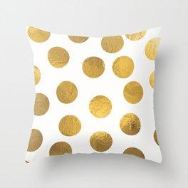 Gold Foil Polka Dots Throw Pillow