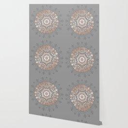 Rose Gold Gray Floral Mandala Wallpaper
