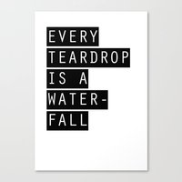coldplay Canvas Prints featuring Coldplay Teardrop by Linn Leding