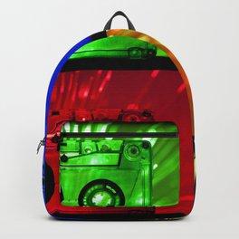 Transparent Cassette tapes. Pop art style Backpack