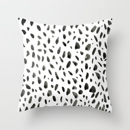 Black ink abstract random background. Hand-drawn spotted pattern on white abstract background Throw Pillow