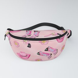 Artsy Cute Girly Pink Teal Cowgirl Watercolor Fanny Pack